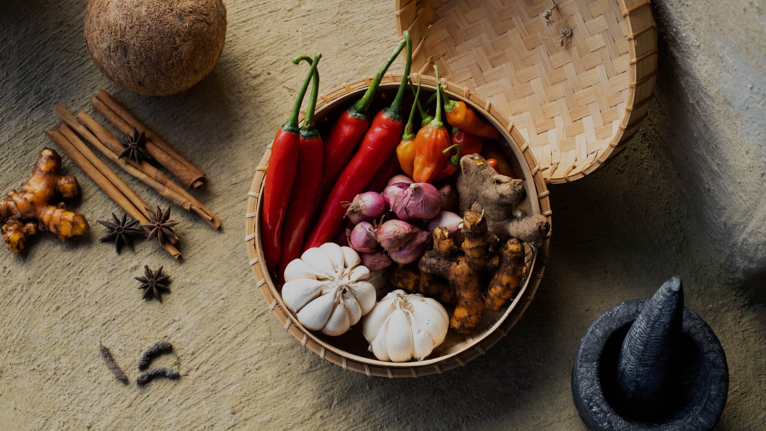 natural ingredients in wooden bowl